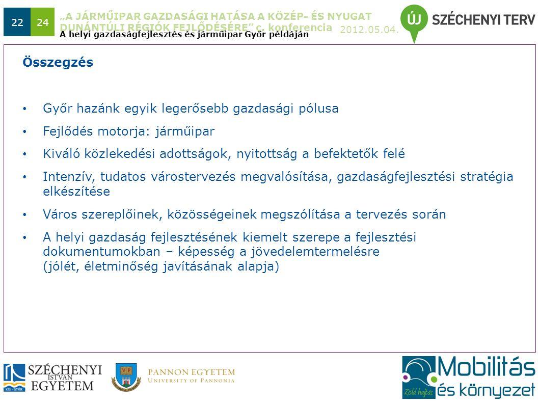"""""""A JÁRMŰIPAR GAZDASÁGI HATÁSA A KÖZÉP- ÉS NYUGAT DUNÁNTÚLI RÉGIÓK FEJLŐDÉSÉRE"""" c. konferencia 2012.05.04. 2224 Győr hazánk egyik legerősebb gazdasági"""