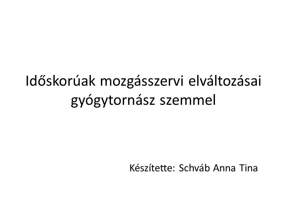 Időskorúak mozgásszervi elváltozásai gyógytornász szemmel Készítette: Schváb Anna Tina