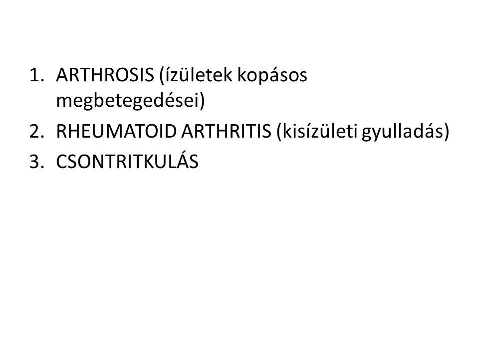 1.ARTHROSIS (ízületek kopásos megbetegedései) 2.RHEUMATOID ARTHRITIS (kisízületi gyulladás) 3.CSONTRITKULÁS