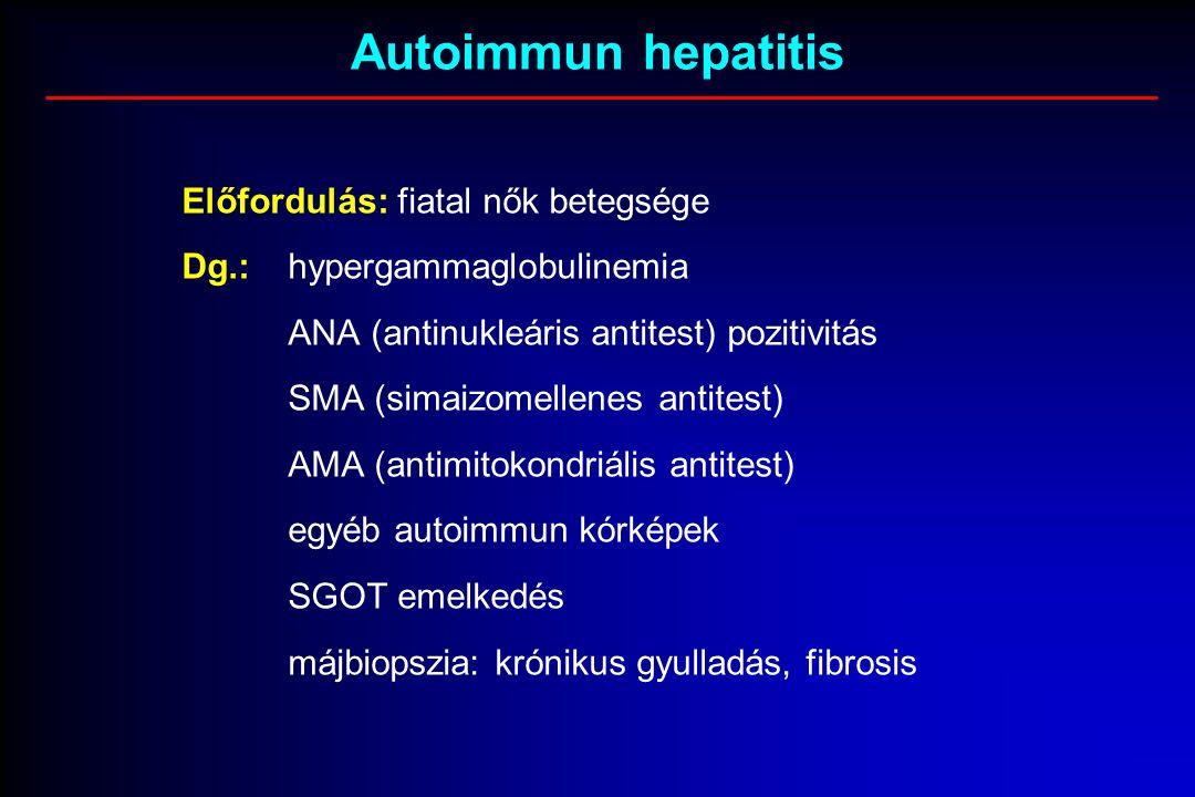 Autoimmun hepatitis Előfordulás: fiatal nők betegsége Dg.:hypergammaglobulinemia ANA (antinukleáris antitest) pozitivitás SMA (simaizomellenes antitest) AMA (antimitokondriális antitest) egyéb autoimmun kórképek SGOT emelkedés májbiopszia: krónikus gyulladás, fibrosis