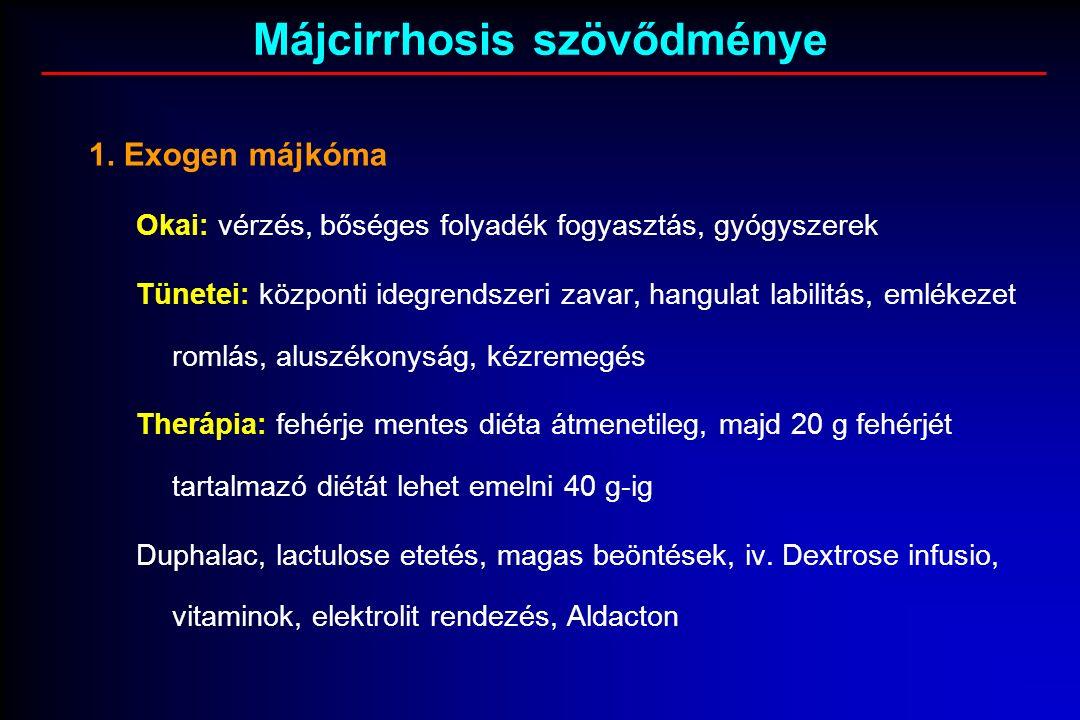 1. Exogen májkóma Okai: vérzés, bőséges folyadék fogyasztás, gyógyszerek Tünetei: központi idegrendszeri zavar, hangulat labilitás, emlékezet romlás,