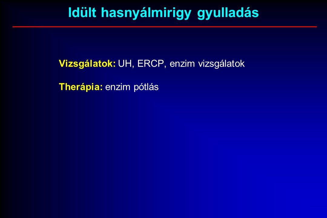 Vizsgálatok: UH, ERCP, enzim vizsgálatok Therápia: enzim pótlás Idült hasnyálmirigy gyulladás