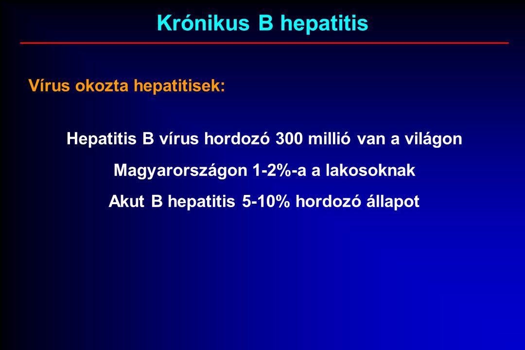 Krónikus B hepatitis Vírus okozta hepatitisek: Hepatitis B vírus hordozó 300 millió van a világon Magyarországon 1-2%-a a lakosoknak Akut B hepatitis 5-10% hordozó állapot