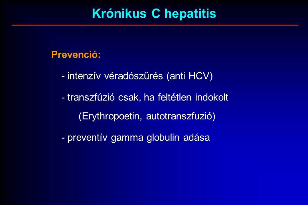 Krónikus C hepatitis Prevenció: - intenzív véradószűrés (anti HCV) - transzfúzió csak, ha feltétlen indokolt (Erythropoetin, autotranszfuzió) - preventív gamma globulin adása