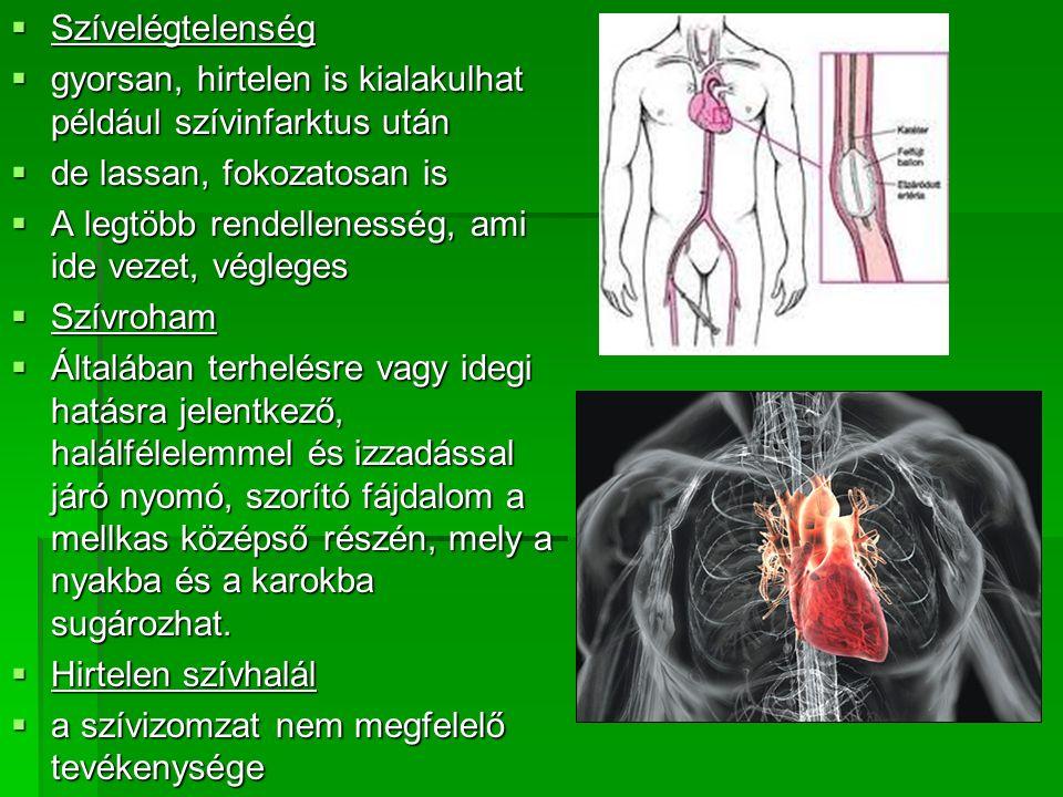  Szívelégtelenség  gyorsan, hirtelen is kialakulhat például szívinfarktus után  de lassan, fokozatosan is  A legtöbb rendellenesség, ami ide vezet