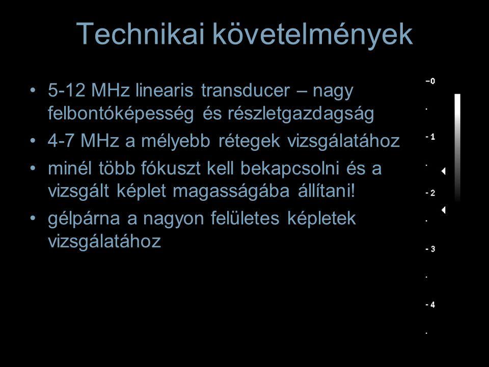 5-12 MHz linearis transducer – nagy felbontóképesség és részletgazdagság 4-7 MHz a mélyebb rétegek vizsgálatához minél több fókuszt kell bekapcsolni é