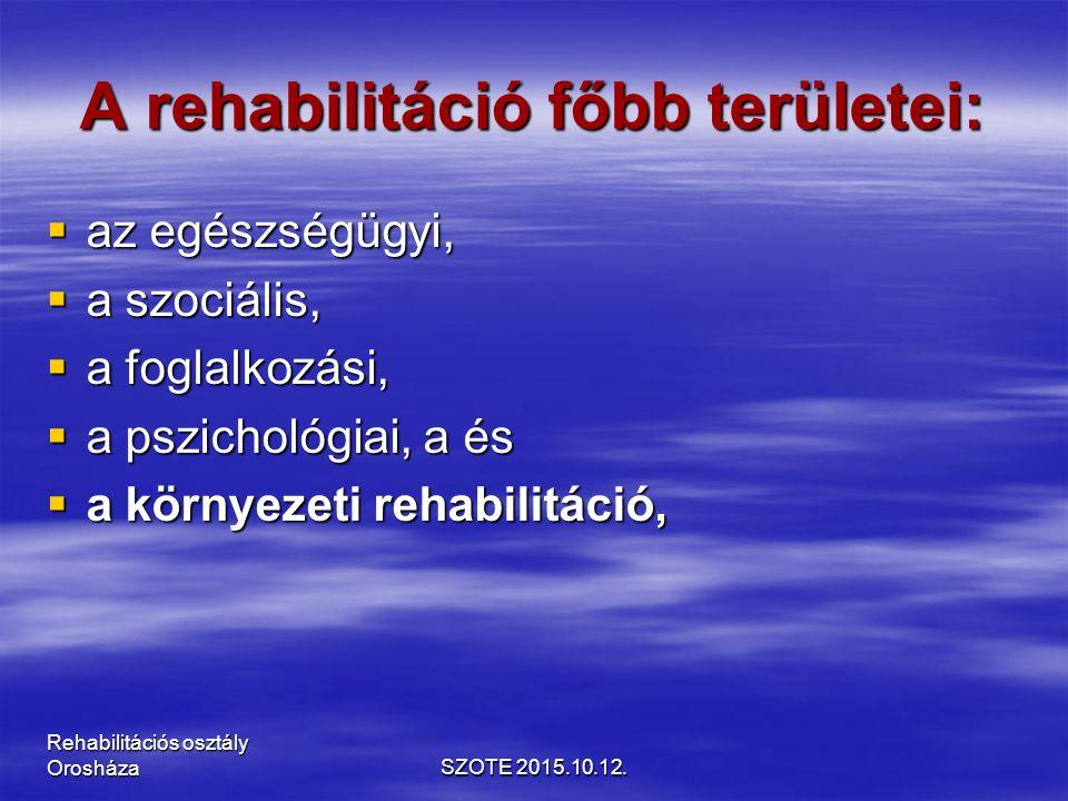 A rehabilitáció főbb területei:  az egészségügyi,  a szociális,  a foglalkozási,  a pszichológiai, a és  a környezeti rehabilitáció, SZOTE 2015.10.12.