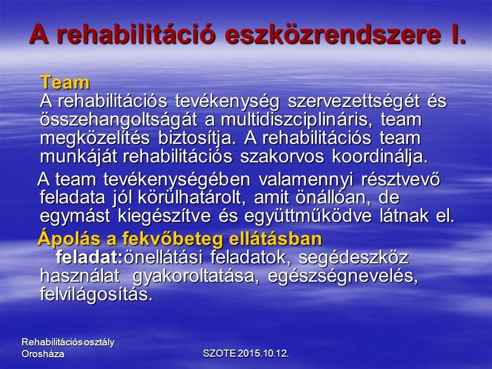 A rehabilitáció eszközrendszere I.