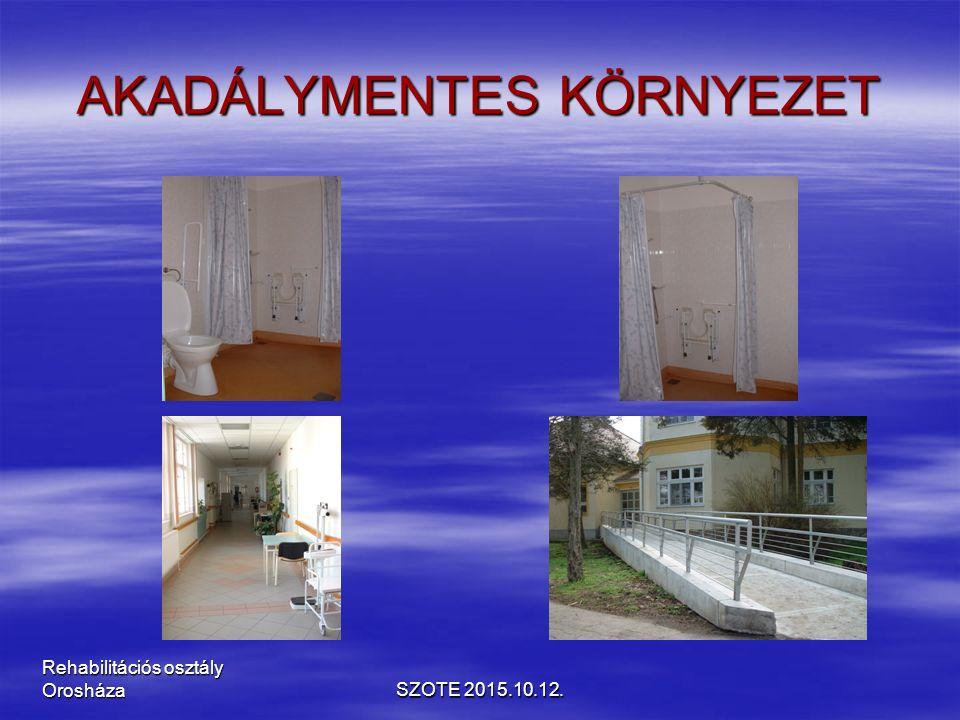 AKADÁLYMENTES KÖRNYEZET SZOTE 2015.10.12. Rehabilitációs osztály Orosháza