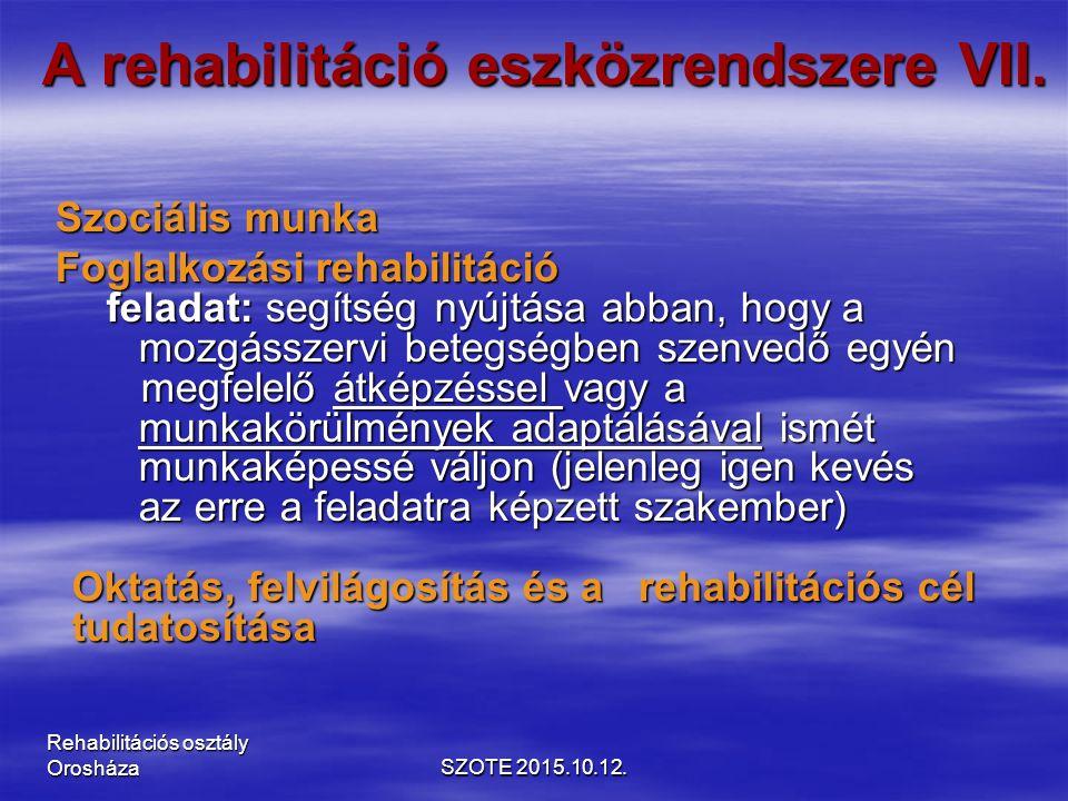 A rehabilitáció eszközrendszere VII.