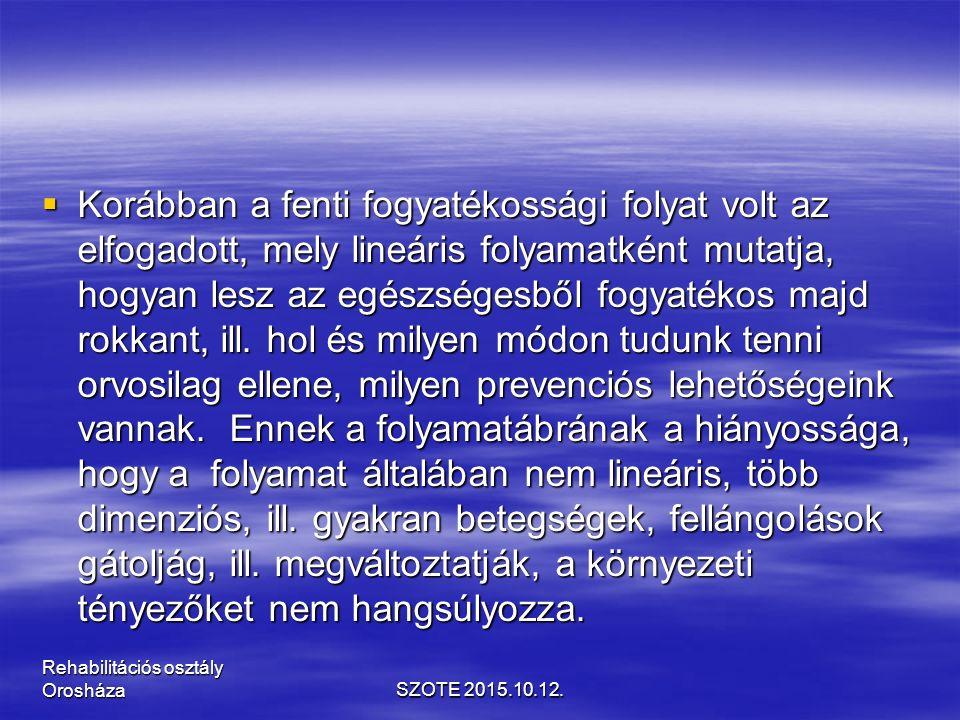 OSTEOPOROSIS SZOTE 2015.10.12. Rehabilitációs osztály Orosháza