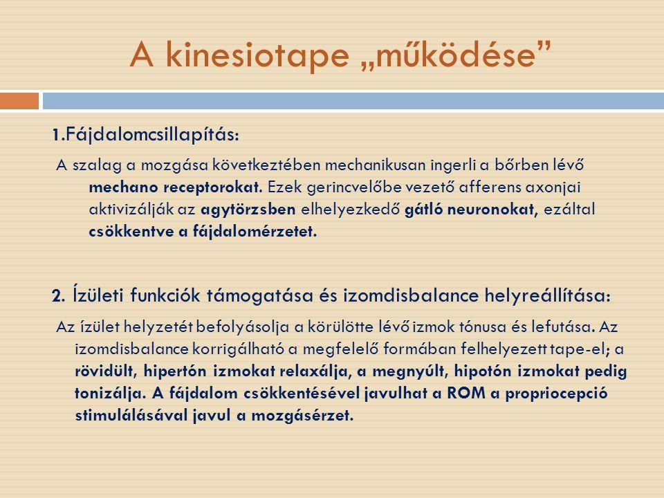 """A kinesiotape """"működése"""" 1. Fájdalomcsillapítás: A szalag a mozgása következtében mechanikusan ingerli a bőrben lévő mechano receptorokat. Ezek gerinc"""