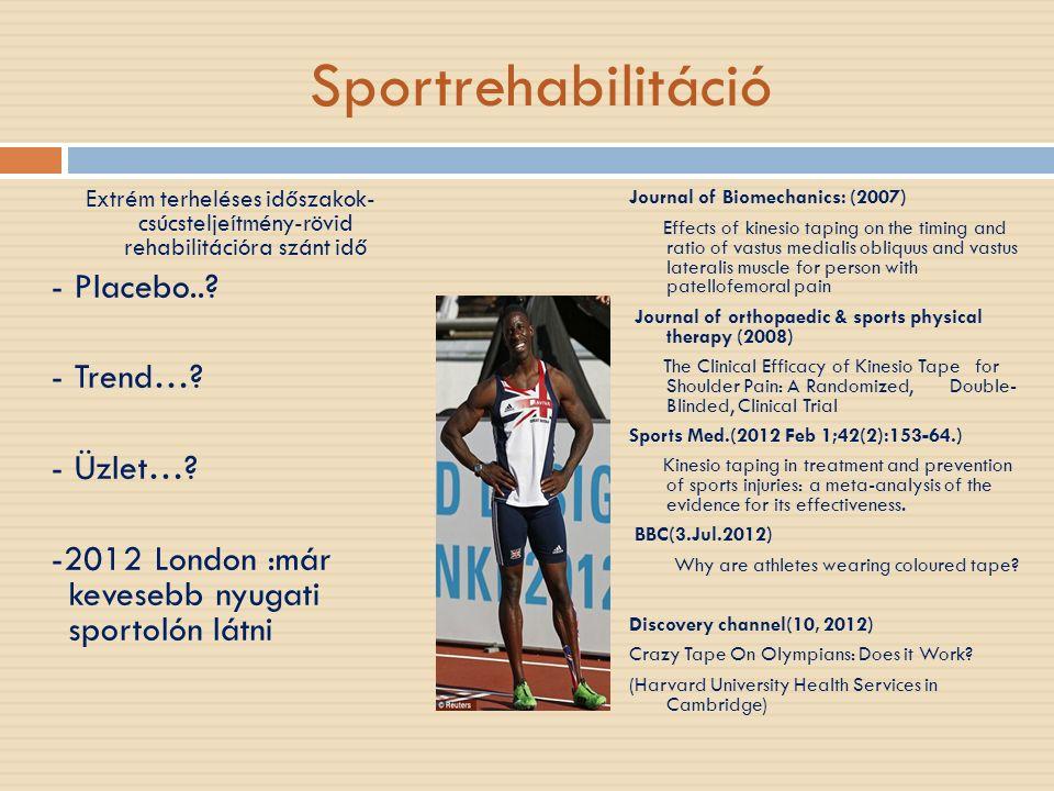 Sportrehabilitáció Extrém terheléses időszakok- csúcsteljeítmény-rövid rehabilitációra szánt idő - Placebo..? - Trend…? - Üzlet…? -2012 London :már ke