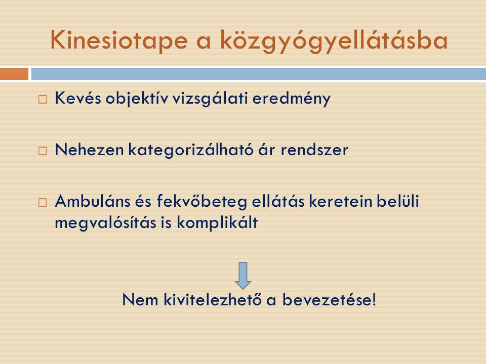 Kinesiotape a közgyógyellátásba  Kevés objektív vizsgálati eredmény  Nehezen kategorizálható ár rendszer  Ambuláns és fekvőbeteg ellátás keretein belüli megvalósítás is komplikált Nem kivitelezhető a bevezetése!