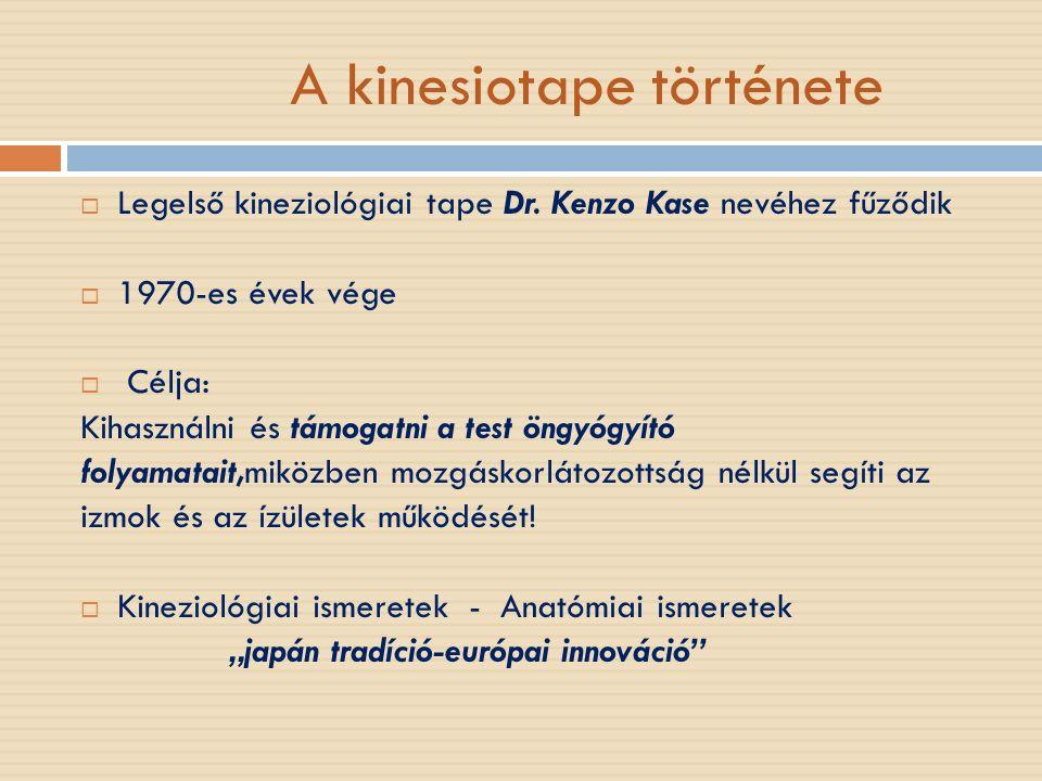 A kinesiotape története  Legelső kineziológiai tape Dr. Kenzo Kase nevéhez fűződik  1970-es évek vége  Célja: Kihasználni és támogatni a test öngyó