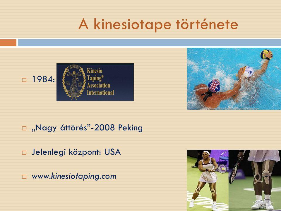 """A kinesiotape története  1984:  """"Nagy áttörés -2008 Peking  Jelenlegi központ: USA  www.kinesiotaping.com"""
