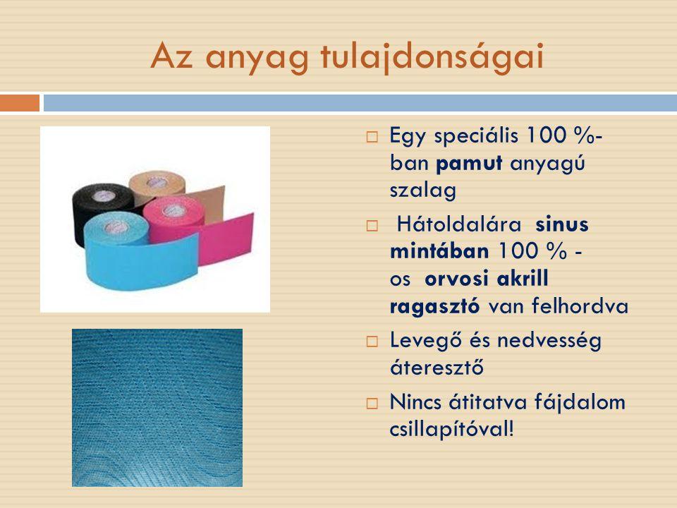 """Az anyag tulajdonságai  Próbálták a bőrhöz adaptálni """"legnagyobb reflexszerv,ezen keresztül hatást lehet gyakorolni a mélyebben fekvő szervekre, szövetekre  A bőrhöz hasonló elaszticitással rendelkezik  Hosszirányban 30-40%-ban(márka függő is) megnyújtható  Több napon keresztül hordható( 3-5 nap átlagosan,speciális ragasztóspray-el hosszabb fennmaradás)"""