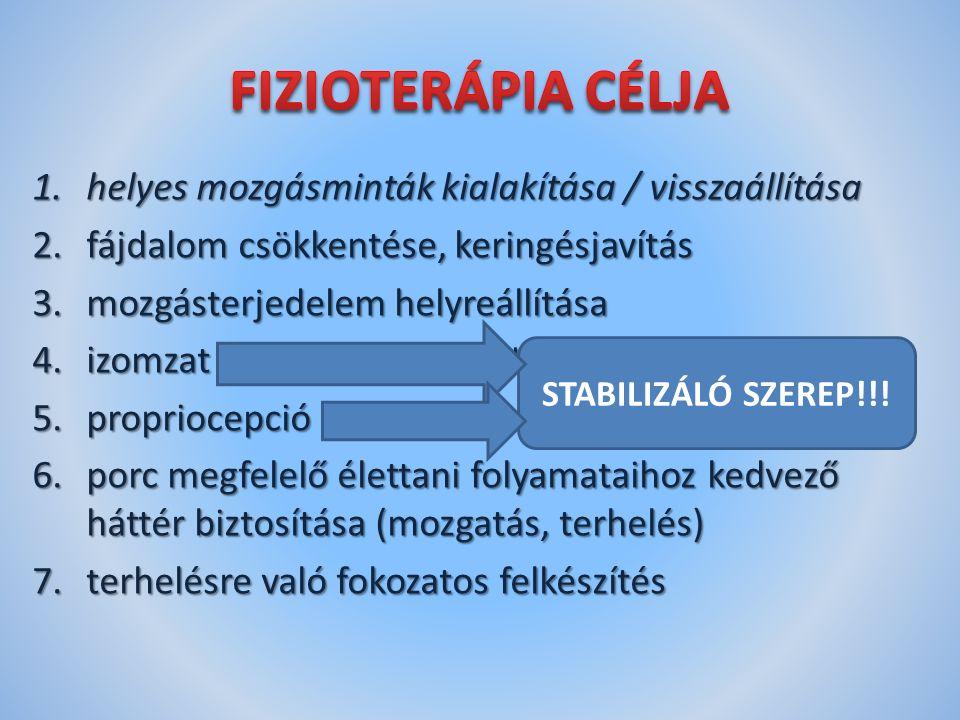 1.helyes mozgásminták kialakítása / visszaállítása 2.fájdalom csökkentése, keringésjavítás 3.mozgásterjedelem helyreállítása 4.izomzat fejlesztése – erő, állóképesség, gyorsaság 5.propriocepció fejlesztés 6.porc megfelelő élettani folyamataihoz kedvező háttér biztosítása (mozgatás, terhelés) 7.terhelésre való fokozatos felkészítés STABILIZÁLÓ SZEREP!!!