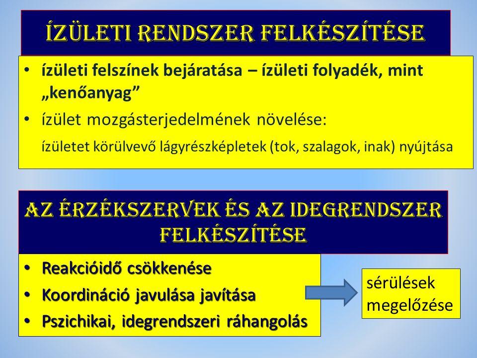 """Ízületi rendszer FELKÉSZíTÉSE ízületi felszínek bejáratása – ízületi folyadék, mint """"kenőanyag ízület mozgásterjedelmének növelése: ízületet körülvevő lágyrészképletek (tok, szalagok, inak) nyújtása AZ ÉRZÉKSZERVEK ÉS AZ IDEGRENDSZER FELKÉSZíTÉSE Reakcióidő csökkenése Reakcióidő csökkenése Koordináció javulása javítása Koordináció javulása javítása Pszichikai, idegrendszeri ráhangolás Pszichikai, idegrendszeri ráhangolás sérülések megelőzése"""