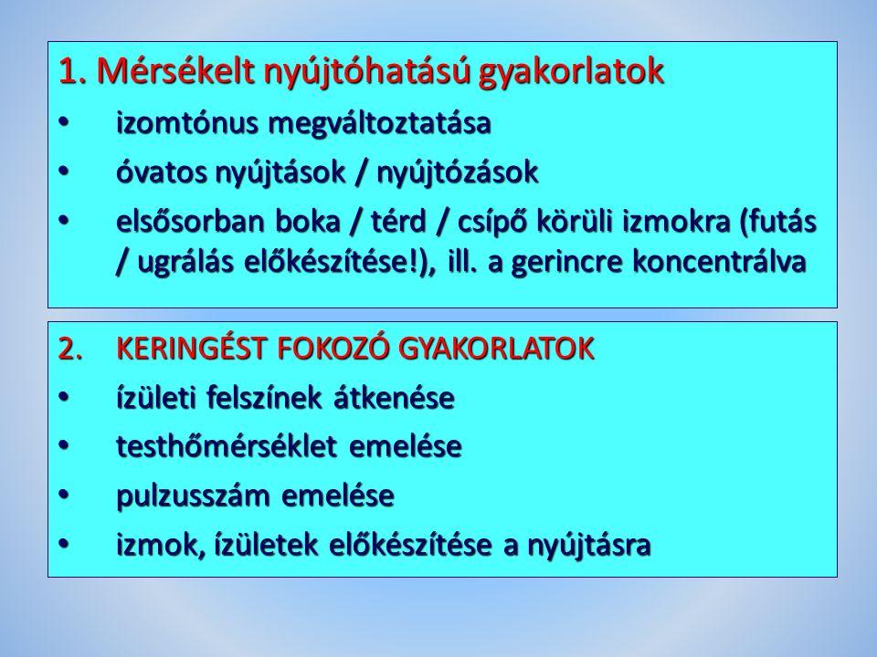 1. Mérsékelt nyújtóhatású gyakorlatok izomtónus megváltoztatása izomtónus megváltoztatása óvatos nyújtások / nyújtózások óvatos nyújtások / nyújtózáso