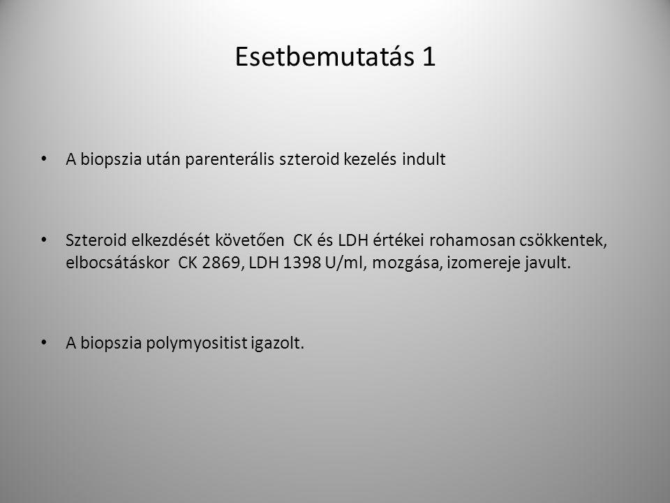 A biopszia után parenterális szteroid kezelés indult Szteroid elkezdését követően CK és LDH értékei rohamosan csökkentek, elbocsátáskor CK 2869, LDH 1398 U/ml, mozgása, izomereje javult.