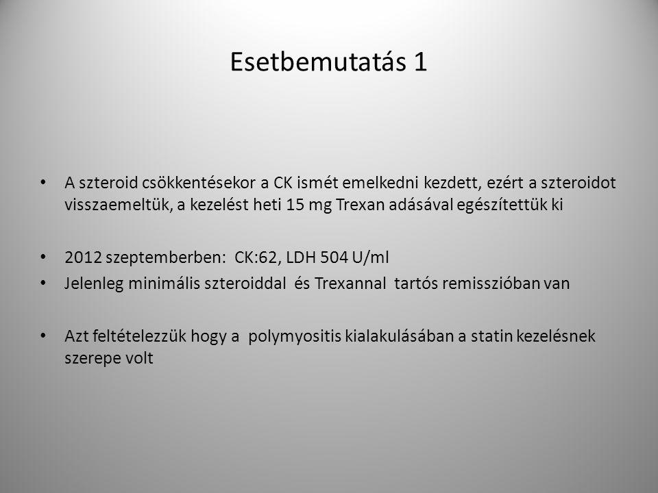 Esetbemutatás 1 A szteroid csökkentésekor a CK ismét emelkedni kezdett, ezért a szteroidot visszaemeltük, a kezelést heti 15 mg Trexan adásával egészítettük ki 2012 szeptemberben: CK:62, LDH 504 U/ml Jelenleg minimális szteroiddal és Trexannal tartós remisszióban van Azt feltételezzük hogy a polymyositis kialakulásában a statin kezelésnek szerepe volt