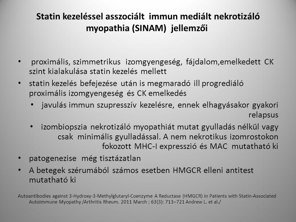 Statin kezeléssel asszociált immun mediált nekrotizáló myopathia (SINAM) jellemzői proximális, szimmetrikus izomgyengeség, fájdalom,emelkedett CK szint kialakulása statin kezelés mellett statin kezelés befejezése után is megmaradó ill progrediáló proximális izomgyengeség és CK emelkedés javulás immun szupresszív kezelésre, ennek elhagyásakor gyakori relapsus izombiopszia nekrotizáló myopathiát mutat gyulladás nélkül vagy csak minimális gyulladással.