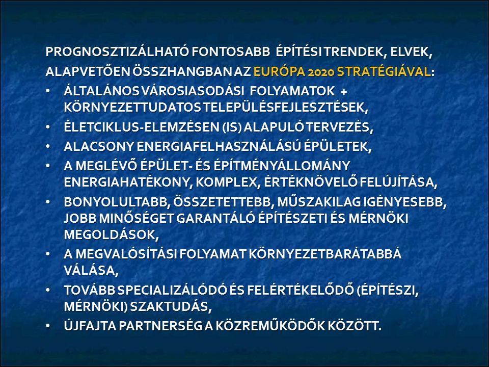 PROGNOSZTIZÁLHATÓ FONTOSABB ÉPÍTÉSI TRENDEK, ELVEK, ALAPVETŐEN ÖSSZHANGBAN AZ EURÓPA 2020 STRATÉGIÁVAL: ÁLTALÁNOS VÁROSIASODÁSI FOLYAMATOK + KÖRNYEZETTUDATOS TELEPÜLÉSFEJLESZTÉSEK, ÁLTALÁNOS VÁROSIASODÁSI FOLYAMATOK + KÖRNYEZETTUDATOS TELEPÜLÉSFEJLESZTÉSEK, ÉLETCIKLUS-ELEMZÉSEN (IS) ALAPULÓ TERVEZÉS, ÉLETCIKLUS-ELEMZÉSEN (IS) ALAPULÓ TERVEZÉS, ALACSONY ENERGIAFELHASZNÁLÁSÚ ÉPÜLETEK, ALACSONY ENERGIAFELHASZNÁLÁSÚ ÉPÜLETEK, A MEGLÉVŐ ÉPÜLET- ÉS ÉPÍTMÉNYÁLLOMÁNY ENERGIAHATÉKONY, KOMPLEX, ÉRTÉKNÖVELŐ FELÚJÍTÁSA, A MEGLÉVŐ ÉPÜLET- ÉS ÉPÍTMÉNYÁLLOMÁNY ENERGIAHATÉKONY, KOMPLEX, ÉRTÉKNÖVELŐ FELÚJÍTÁSA, BONYOLULTABB, ÖSSZETETTEBB, MŰSZAKILAG IGÉNYESEBB, JOBB MINŐSÉGET GARANTÁLÓ ÉPÍTÉSZETI ÉS MÉRNÖKI MEGOLDÁSOK, BONYOLULTABB, ÖSSZETETTEBB, MŰSZAKILAG IGÉNYESEBB, JOBB MINŐSÉGET GARANTÁLÓ ÉPÍTÉSZETI ÉS MÉRNÖKI MEGOLDÁSOK, A MEGVALÓSÍTÁSI FOLYAMAT KÖRNYEZETBARÁTABBÁ VÁLÁSA, A MEGVALÓSÍTÁSI FOLYAMAT KÖRNYEZETBARÁTABBÁ VÁLÁSA, TOVÁBB SPECIALIZÁLÓDÓ ÉS FELÉRTÉKELŐDŐ (ÉPÍTÉSZI, MÉRNÖKI) SZAKTUDÁS, TOVÁBB SPECIALIZÁLÓDÓ ÉS FELÉRTÉKELŐDŐ (ÉPÍTÉSZI, MÉRNÖKI) SZAKTUDÁS, ÚJFAJTA PARTNERSÉG A KÖZREMŰKÖDŐK KÖZÖTT.