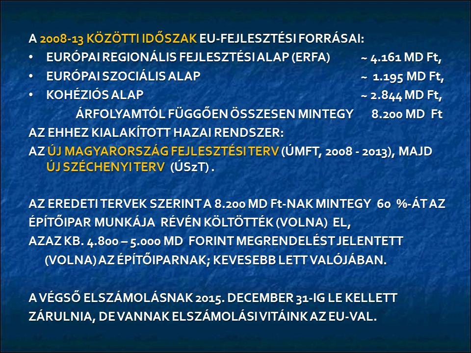 A 2008-13 KÖZÖTTI IDŐSZAK EU-FEJLESZTÉSI FORRÁSAI: EURÓPAI REGIONÁLIS FEJLESZTÉSI ALAP (ERFA) ~ 4.161 MD Ft, EURÓPAI REGIONÁLIS FEJLESZTÉSI ALAP (ERFA