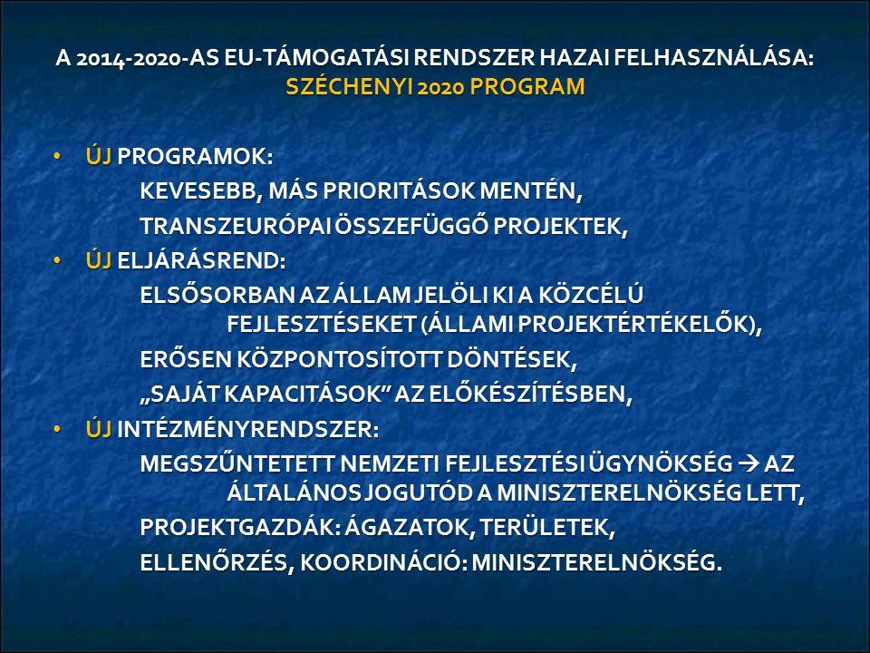 A 2014-2020-AS EU-TÁMOGATÁSI RENDSZER HAZAI FELHASZNÁLÁSA: SZÉCHENYI 2020 PROGRAM ÚJ PROGRAMOK: ÚJ PROGRAMOK: KEVESEBB, MÁS PRIORITÁSOK MENTÉN, TRANSZ