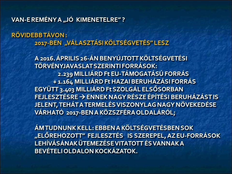 """VAN-E REMÉNY A """"JÓ KIMENETELRE . RÖVIDEBB TÁVON : 2017-BEN """"VÁLASZTÁSI KÖLTSÉGVETÉS LESZ A 2016."""