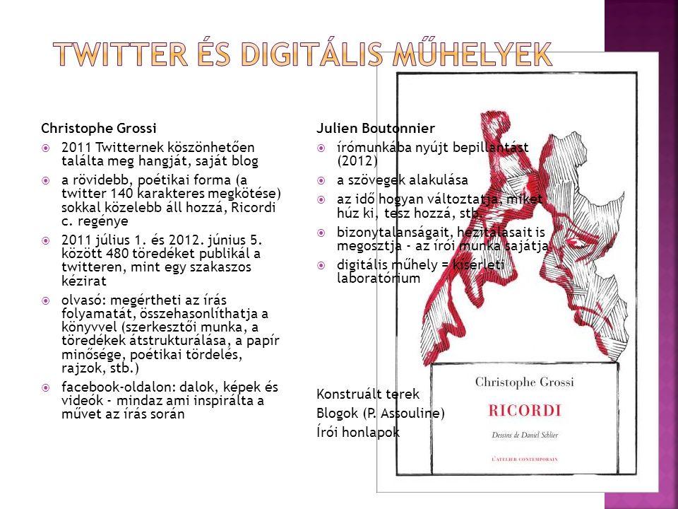 Christophe Grossi  2011 Twitternek köszönhetően találta meg hangját, saját blog  a rövidebb, poétikai forma (a twitter 140 karakteres megkötése) sokkal közelebb áll hozzá, Ricordi c.