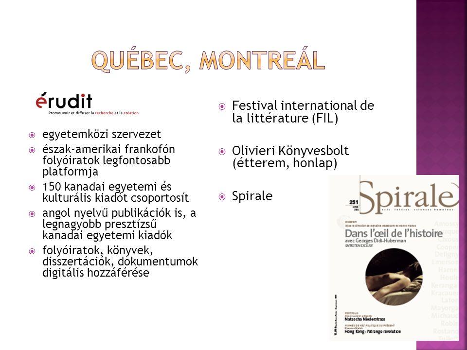  egyetemközi szervezet  észak-amerikai frankofón folyóiratok legfontosabb platformja  150 kanadai egyetemi és kulturális kiadót csoportosít  angol nyelvű publikációk is, a legnagyobb presztízsű kanadai egyetemi kiadók  folyóiratok, könyvek, disszertációk, dokumentumok digitális hozzáférése  Festival international de la littérature (FIL)  Olivieri Könyvesbolt (étterem, honlap)  Spirale