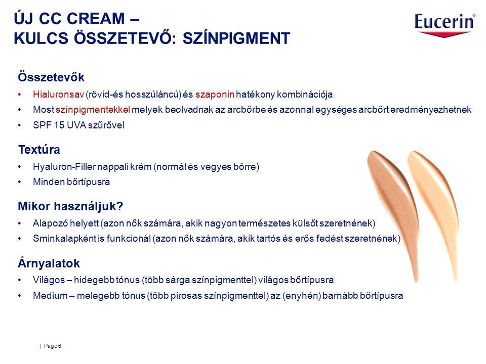 ÚJ CC CREAM – KULCS ÖSSZETEVŐ: SZÍNPIGMENT | Page 6 Összetevők Hialuronsav (rövid-és hosszúláncú) és szaponin hatékony kombinációja Most színpigmentekkel melyek beolvadnak az arcbőrbe és azonnal egységes arcbőrt eredményezhetnek SPF 15 UVA szűrővel Textúra Hyaluron-Filler nappali krém (normál és vegyes bőrre) Minden bőrtípusra Mikor használjuk.