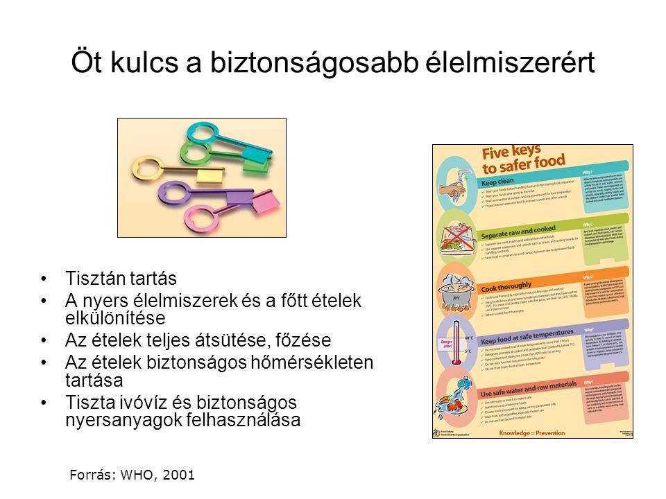Forrás: WHO, 2001 Öt kulcs a biztonságosabb élelmiszerért Tisztán tartás A nyers élelmiszerek és a főtt ételek elkülönítése Az ételek teljes átsütése, főzése Az ételek biztonságos hőmérsékleten tartása Tiszta ivóvíz és biztonságos nyersanyagok felhasználása