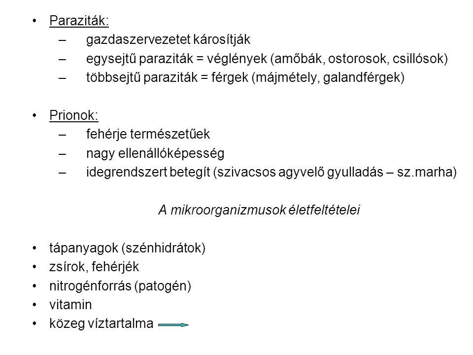 Paraziták: –gazdaszervezetet károsítják –egysejtű paraziták = véglények (amőbák, ostorosok, csillósok) –többsejtű paraziták = férgek (májmétely, galandférgek) Prionok: –fehérje természetűek –nagy ellenállóképesség –idegrendszert betegít (szivacsos agyvelő gyulladás – sz.marha) A mikroorganizmusok életfeltételei tápanyagok (szénhidrátok) zsírok, fehérjék nitrogénforrás (patogén) vitamin közeg víztartalma