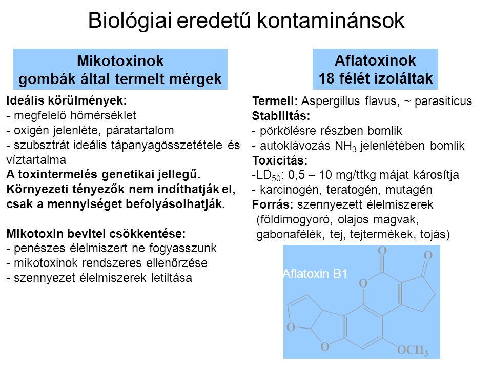 Biológiai eredetű kontaminánsok Mikotoxinok gombák által termelt mérgek Ideális körülmények: - megfelelő hőmérséklet - oxigén jelenléte, páratartalom - szubsztrát ideális tápanyagösszetétele és víztartalma A toxintermelés genetikai jellegű.