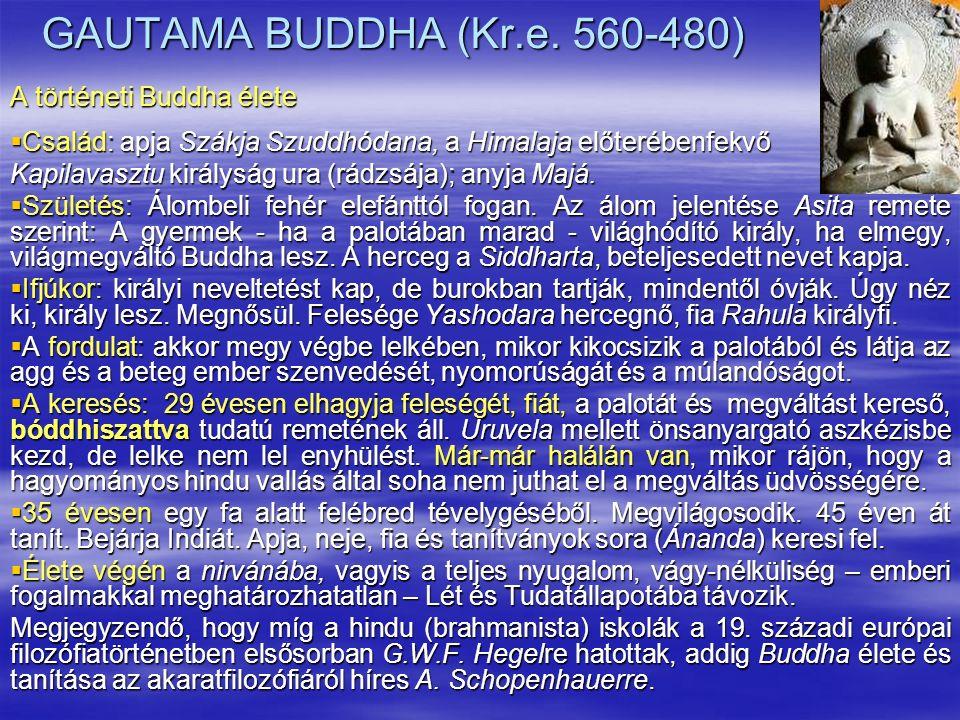 GAUTAMA BUDDHA (Kr.e. 560-480) A történeti Buddha élete  Család: apja Szákja Szuddhódana, a Himalaja előterébenfekvő Kapilavasztu királyság ura (rádz