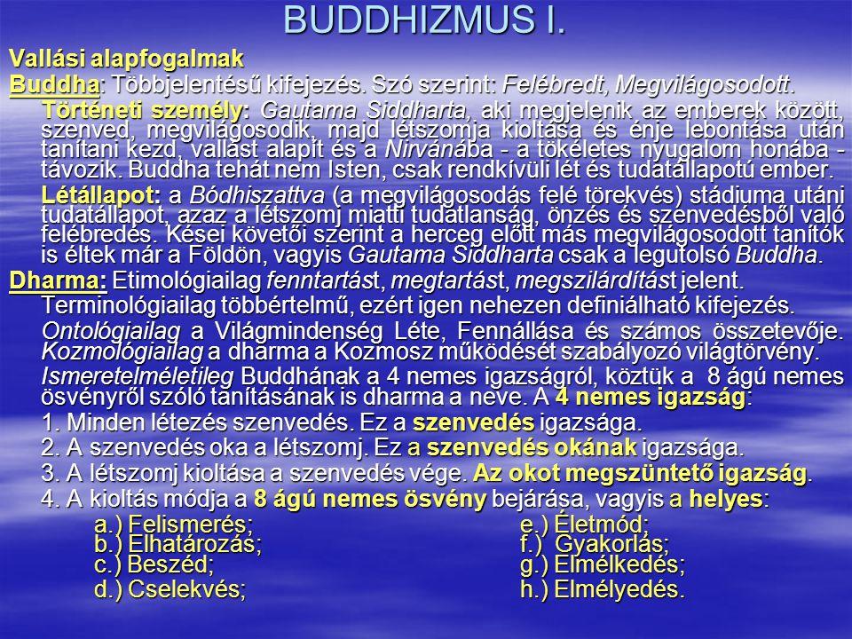 BUDDHIZMUS I. Vallási alapfogalmak Buddha: Többjelentésű kifejezés. Szó szerint: Felébredt, Megvilágosodott. Történeti személy: Gautama Siddharta, aki