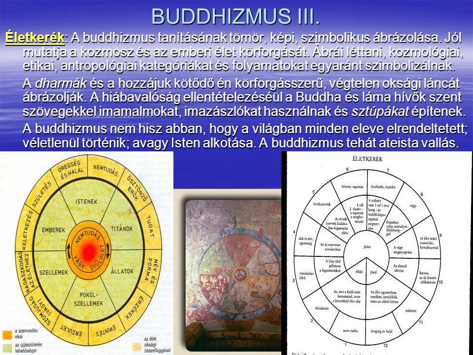BUDDHIZMUS III. Életkerék: A buddhizmus tanításának tömör, képi, szimbolikus ábrázolása. Jól mutatja a kozmosz és az emberi élet körforgását. Ábrái lé