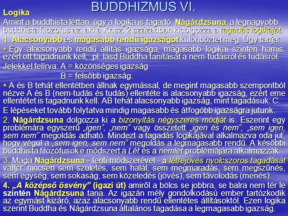 BUDDHIZMUS VI. Logika Amint a buddhista léttan, úgy a logika is tagadó. Nágárdzsuna, a legnagyobb buddhista filozófus az, aki a Kr.sz. 2 században kid