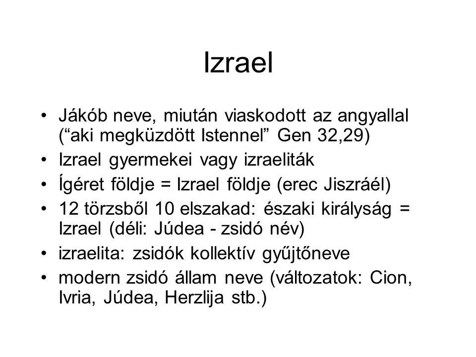 Izrael Jákób neve, miután viaskodott az angyallal ( aki megküzdött Istennel Gen 32,29) Izrael gyermekei vagy izraeliták Ígéret földje = Izrael földje (erec Jiszráél) 12 törzsből 10 elszakad: északi királyság = Izrael (déli: Júdea - zsidó név) izraelita: zsidók kollektív gyűjtőneve modern zsidó állam neve (változatok: Cion, Ivria, Júdea, Herzlija stb.)