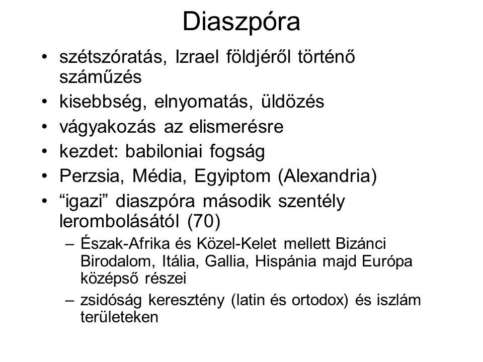 Diaszpóra szétszóratás, Izrael földjéről történő száműzés kisebbség, elnyomatás, üldözés vágyakozás az elismerésre kezdet: babiloniai fogság Perzsia, Média, Egyiptom (Alexandria) igazi diaszpóra második szentély lerombolásától (70) –Észak-Afrika és Közel-Kelet mellett Bizánci Birodalom, Itália, Gallia, Hispánia majd Európa középső részei –zsidóság keresztény (latin és ortodox) és iszlám területeken