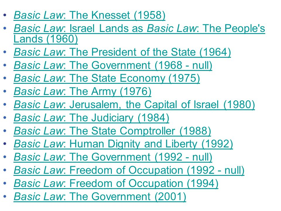 Basic Law: The Knesset (1958)Basic Law: The Knesset (1958) Basic Law: Israel Lands as Basic Law: The People s Lands (1960)Basic Law: Israel Lands as Basic Law: The People s Lands (1960) Basic Law: The President of the State (1964)Basic Law: The President of the State (1964) Basic Law: The Government (1968 - null)Basic Law: The Government (1968 - null) Basic Law: The State Economy (1975)Basic Law: The State Economy (1975) Basic Law: The Army (1976)Basic Law: The Army (1976) Basic Law: Jerusalem, the Capital of Israel (1980)Basic Law: Jerusalem, the Capital of Israel (1980) Basic Law: The Judiciary (1984)Basic Law: The Judiciary (1984) Basic Law: The State Comptroller (1988)Basic Law: The State Comptroller (1988) Basic Law: Human Dignity and Liberty (1992)Basic Law: Human Dignity and Liberty (1992) Basic Law: The Government (1992 - null)Basic Law: The Government (1992 - null) Basic Law: Freedom of Occupation (1992 - null)Basic Law: Freedom of Occupation (1992 - null) Basic Law: Freedom of Occupation (1994)Basic Law: Freedom of Occupation (1994) Basic Law: The Government (2001)Basic Law: The Government (2001)