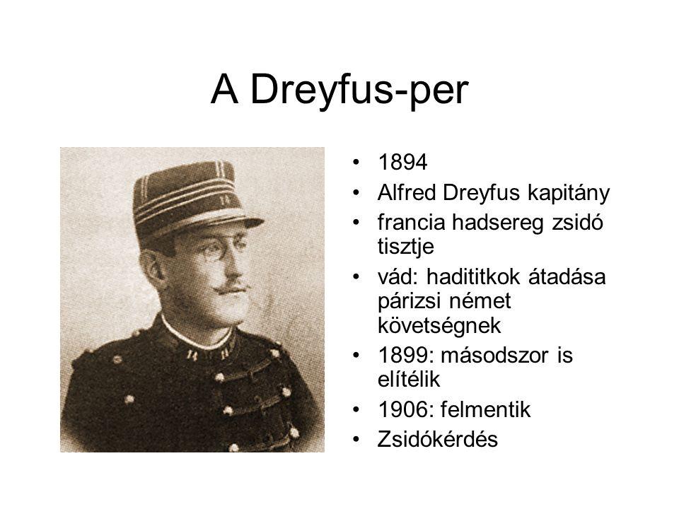 A Dreyfus-per 1894 Alfred Dreyfus kapitány francia hadsereg zsidó tisztje vád: hadititkok átadása párizsi német követségnek 1899: másodszor is elítélik 1906: felmentik Zsidókérdés