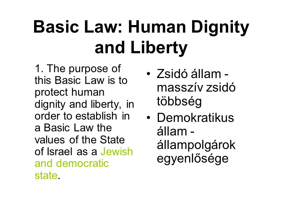 Basic Law: Human Dignity and Liberty 1.