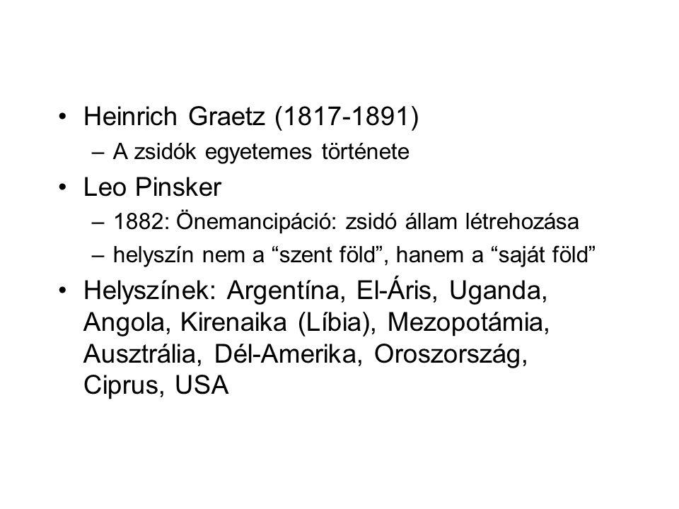 Heinrich Graetz (1817-1891) –A zsidók egyetemes története Leo Pinsker –1882: Önemancipáció: zsidó állam létrehozása –helyszín nem a szent föld , hanem a saját föld Helyszínek: Argentína, El-Áris, Uganda, Angola, Kirenaika (Líbia), Mezopotámia, Ausztrália, Dél-Amerika, Oroszország, Ciprus, USA