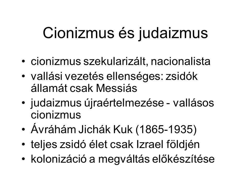 Cionizmus és judaizmus cionizmus szekularizált, nacionalista vallási vezetés ellenséges: zsidók államát csak Messiás judaizmus újraértelmezése - vallásos cionizmus Ávráhám Jichák Kuk (1865-1935) teljes zsidó élet csak Izrael földjén kolonizáció a megváltás előkészítése