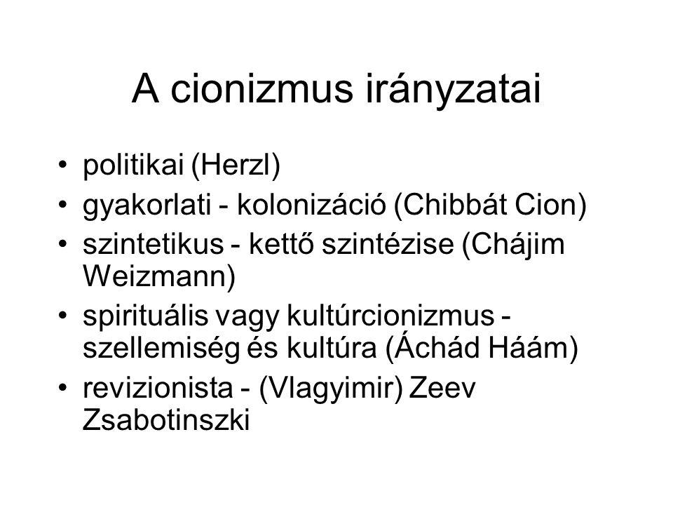 A cionizmus irányzatai politikai (Herzl) gyakorlati - kolonizáció (Chibbát Cion) szintetikus - kettő szintézise (Chájim Weizmann) spirituális vagy kultúrcionizmus - szellemiség és kultúra (Áchád Háám) revizionista - (Vlagyimir) Zeev Zsabotinszki
