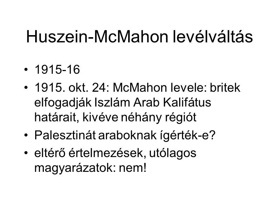 Huszein-McMahon levélváltás 1915-16 1915. okt. 24: McMahon levele: britek elfogadják Iszlám Arab Kalifátus határait, kivéve néhány régiót Palesztinát
